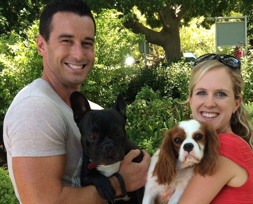 Emily Innes, Registered Dietician in Cape Town, with Bella the Cavalier King Charles Spanile, and Graeme Richards from the Expresso Show with Bob the French Bulldog at the Stellenbosch Slow Market